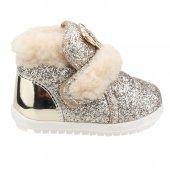 Sanbe 307p203 Kışlık Cırtlı Kız Çocuk İlk Adım Bot Ayakkabı Altın