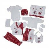 Kız Bebek Tavşan Modelli 10lu Hastane Çıkış Seti Kırmızı C73568