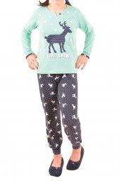 Kız Çocuk Pijama Takımı Uzun Kollu Geyik