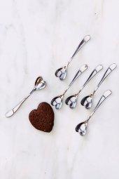 6lı Kalpli Çelik Çay Kaşığı