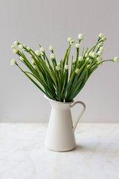 Italyan Saksıda Beyaz Chetori To Yapay Çiçek