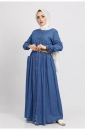 6014 Hasir Kemerli Denim Tesettür Elbise Mavi