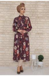 Düğmeli Kemerli Elbise 5354 Bordo